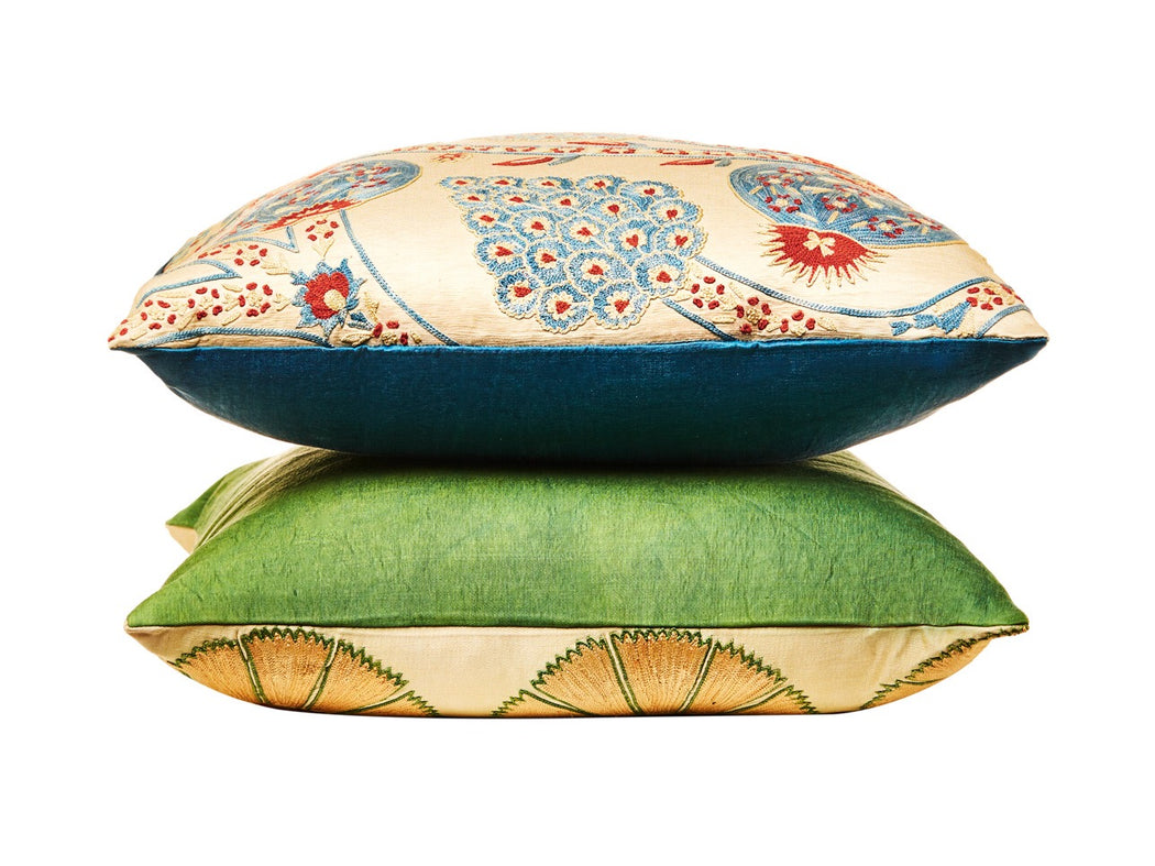 Bohemian Suzani Silk Embroidered   Heritage Cushion - Heritage Geneve