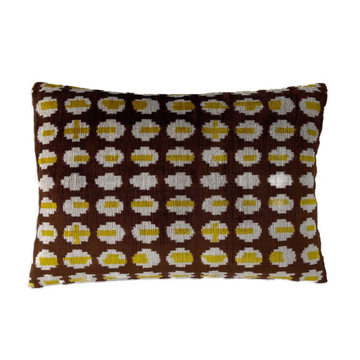 Velvet silk cotton yellow brown rectangular cushion