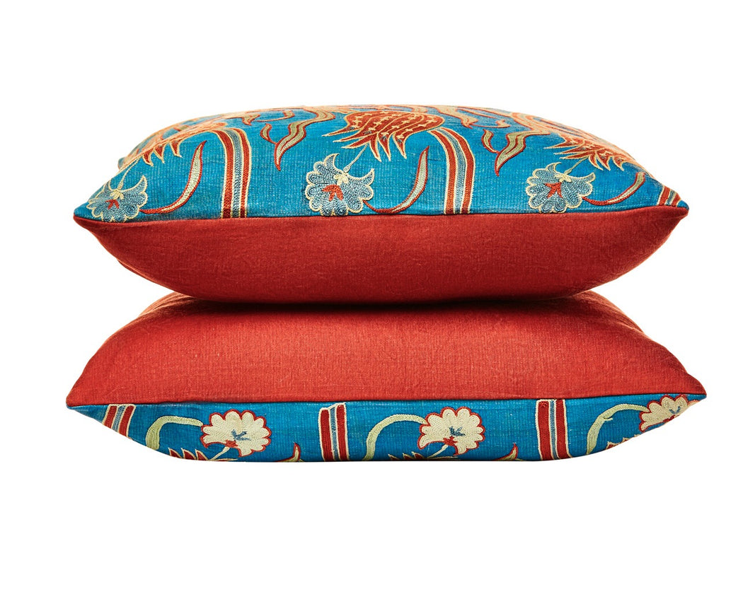 Red Tulip Design Suzani Blue Marine  Hertage Collection - Heritage Geneve