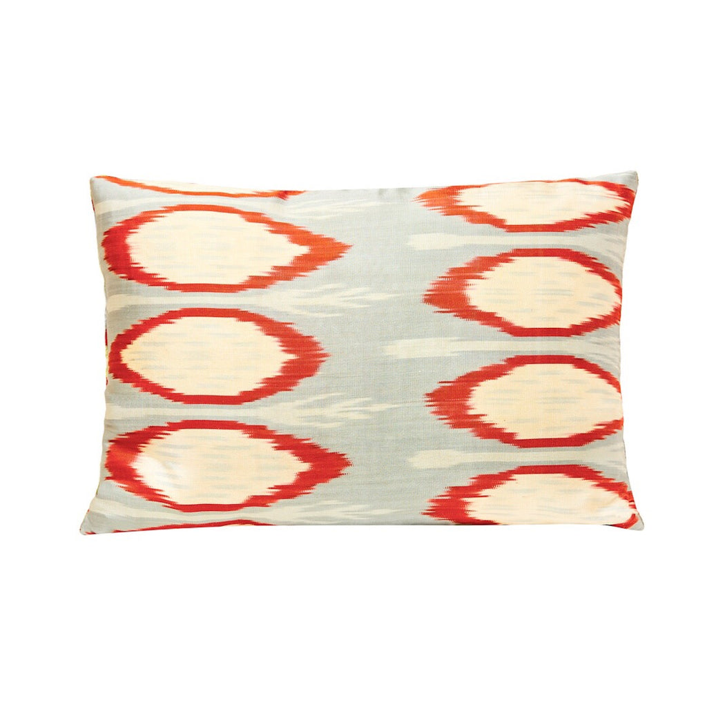 Luxury Geometric Design Blue Velvet Ikat Heritage Style Cushion - Heritage Geneve
