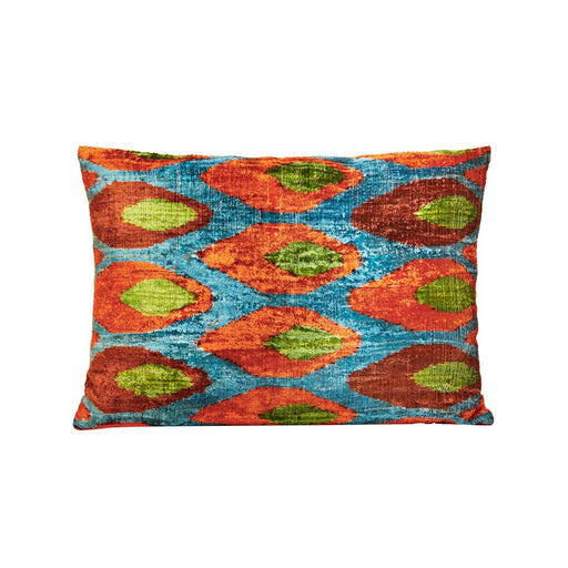 Circle Dot Brown Velvet / Ikat Heritage Style Sofa Cushion