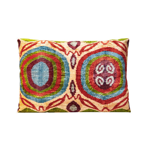 Silk Velvet Rainbow Ikat Cushion