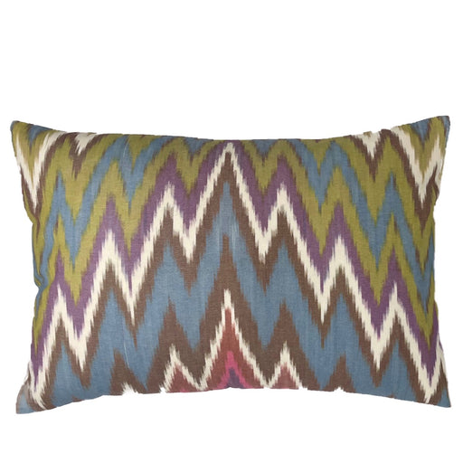 Multicolor silk cotton Ikat cushion cover