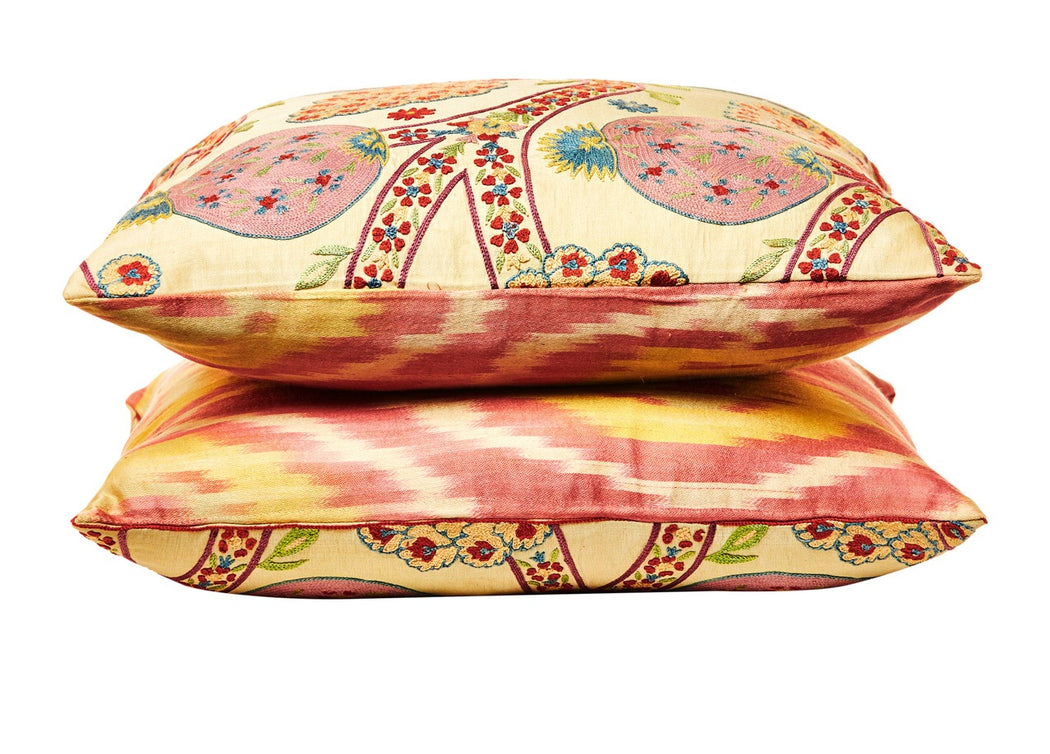 Pink Pomegranate Suzani / Ikat Silk Embroidered Cushion - Heritage Geneve