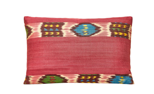 Cornflower Handwoven Silk Ikat Stripe Cushion
