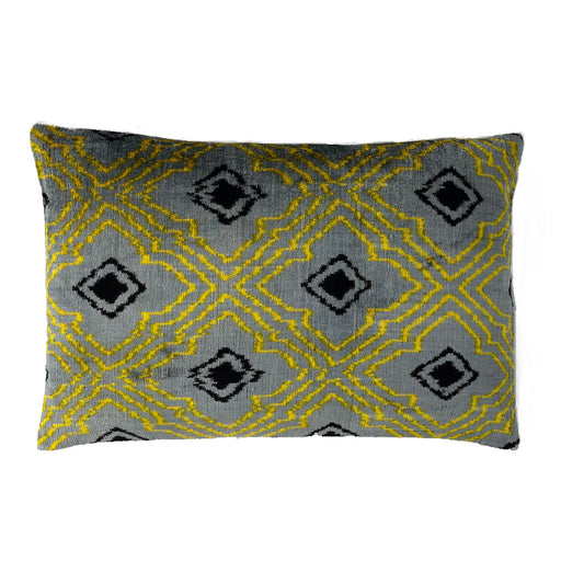 Velvet Ikat yellow gray Ikat cushion cover Heritagegeneve