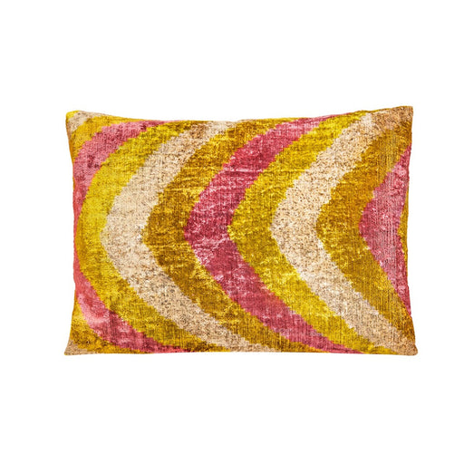Wavy Stripe Velvet Ikat Green & Purple & Silver Heritage Style Cushion