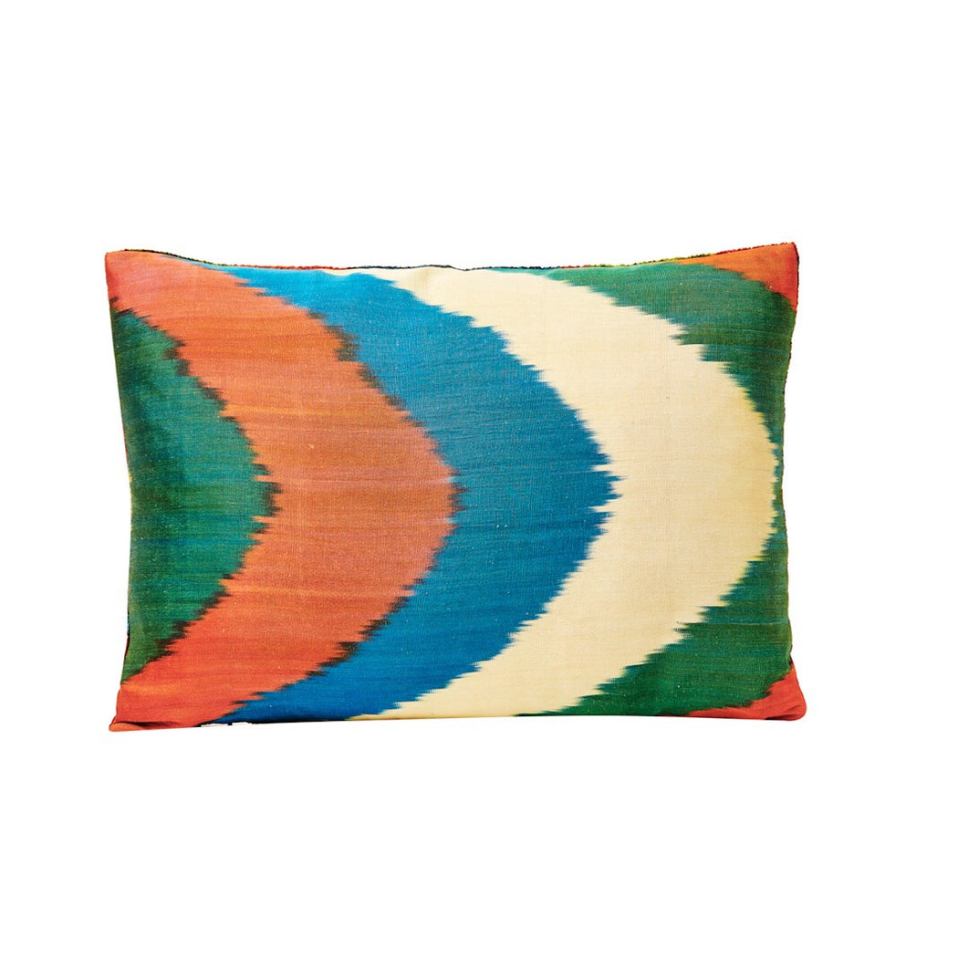 Circle Dot Brown Velvet / Ikat Heritage Style Sofa Cushion - Heritage Geneve