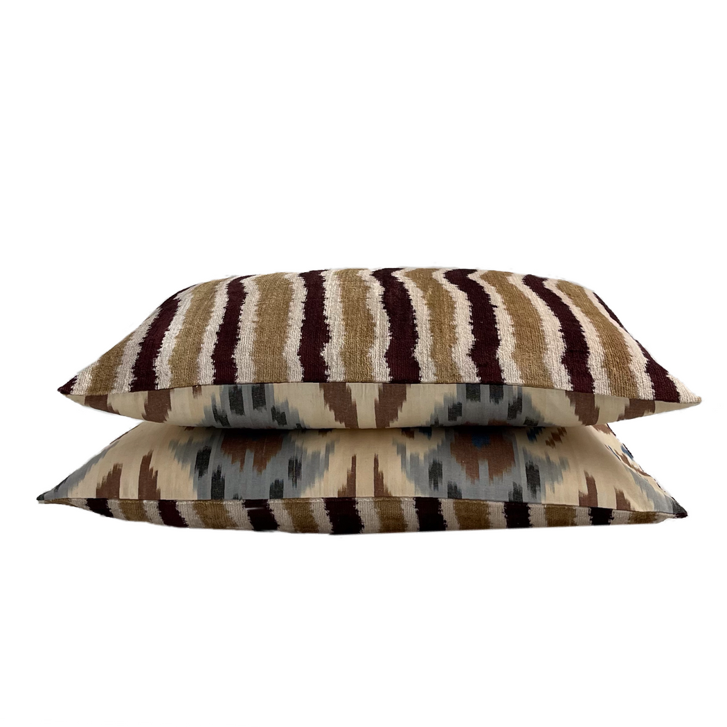 Silk Ikat velvet cushion cover brown bej blue
