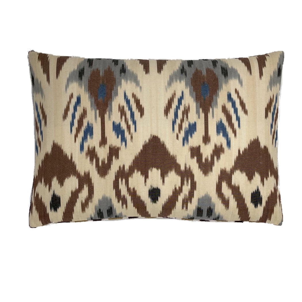 Ikat velvet cotton silk brown cream blue cushion cover