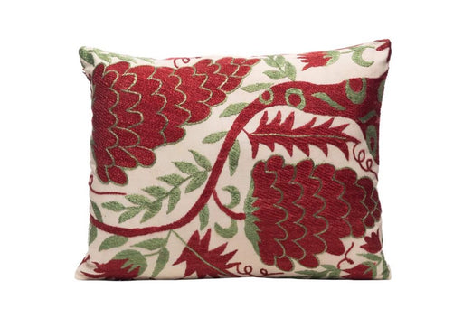 red and green suzani embroidered cushion