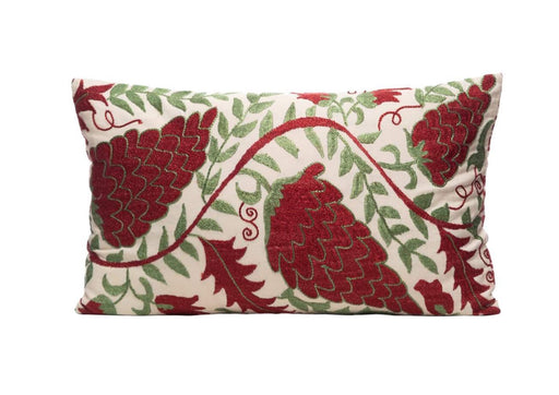 suzani red green cushion