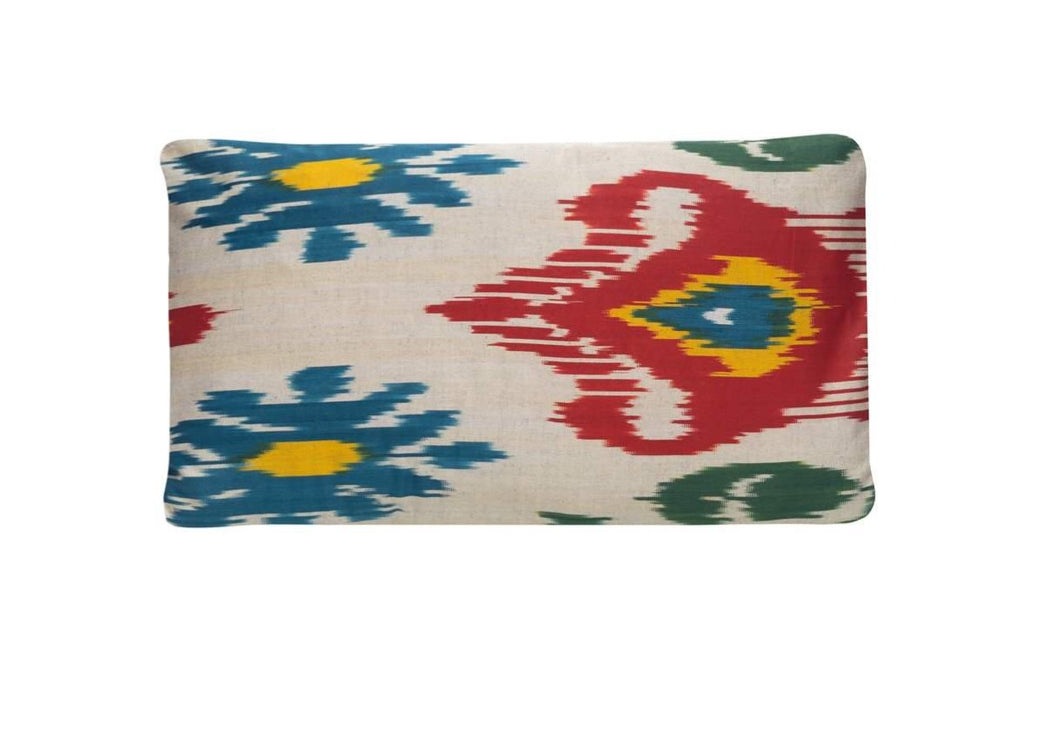 red and blue ikat cushion