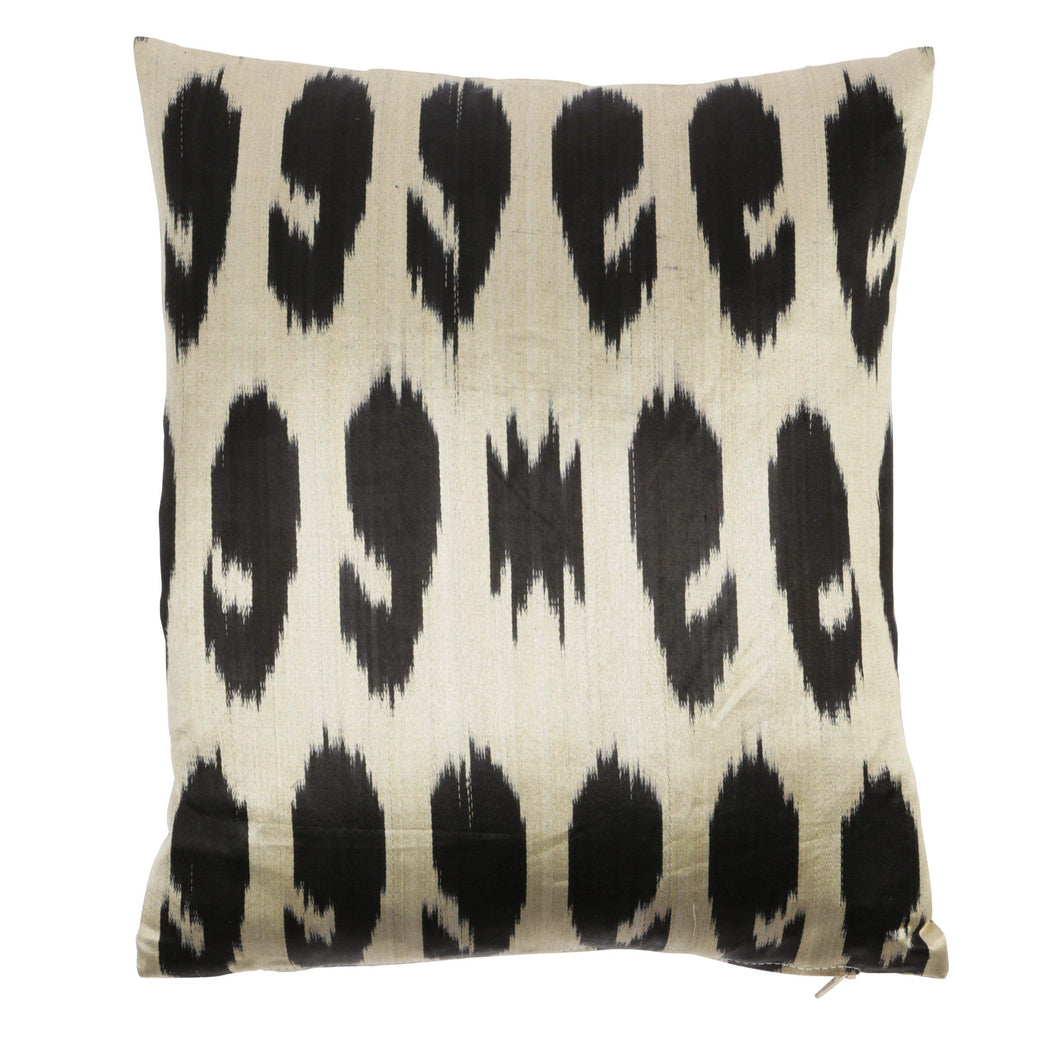 Black & Beige Handwoven Silk Ikat Cushion - Heritage Geneve
