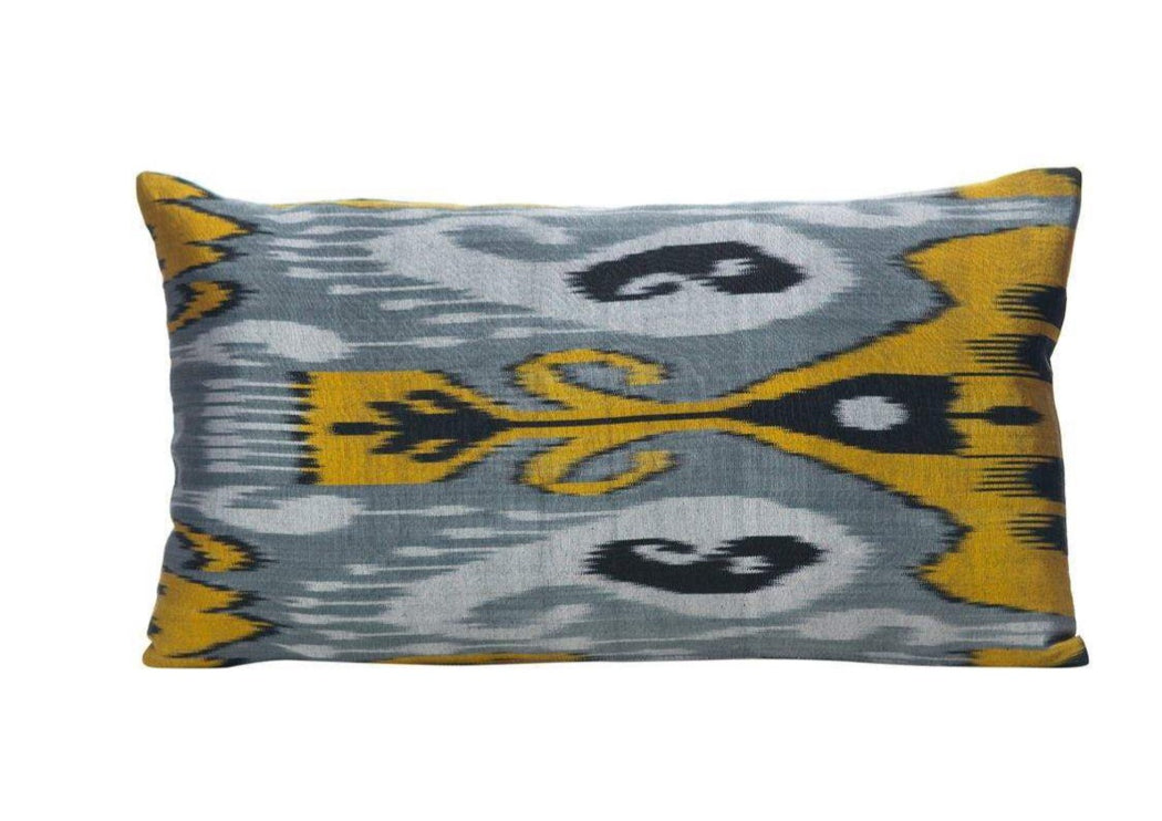 black grey silk ikat cushion