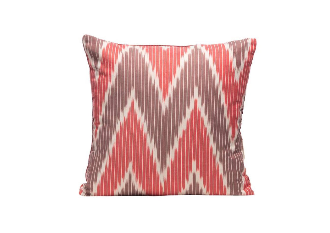 red brown ikat cushion