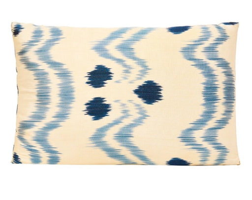 Blue Dots Handwoven Double Sided Silk Ikat Heritage Style Cushion