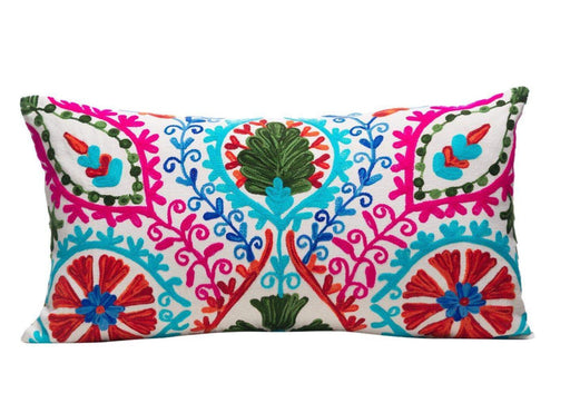Dahlia Bouquet Silk Suzani Cushion Double Sided Ikat