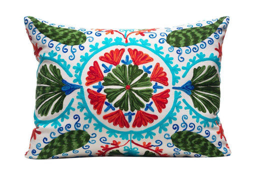 blue hand embroidered cushion