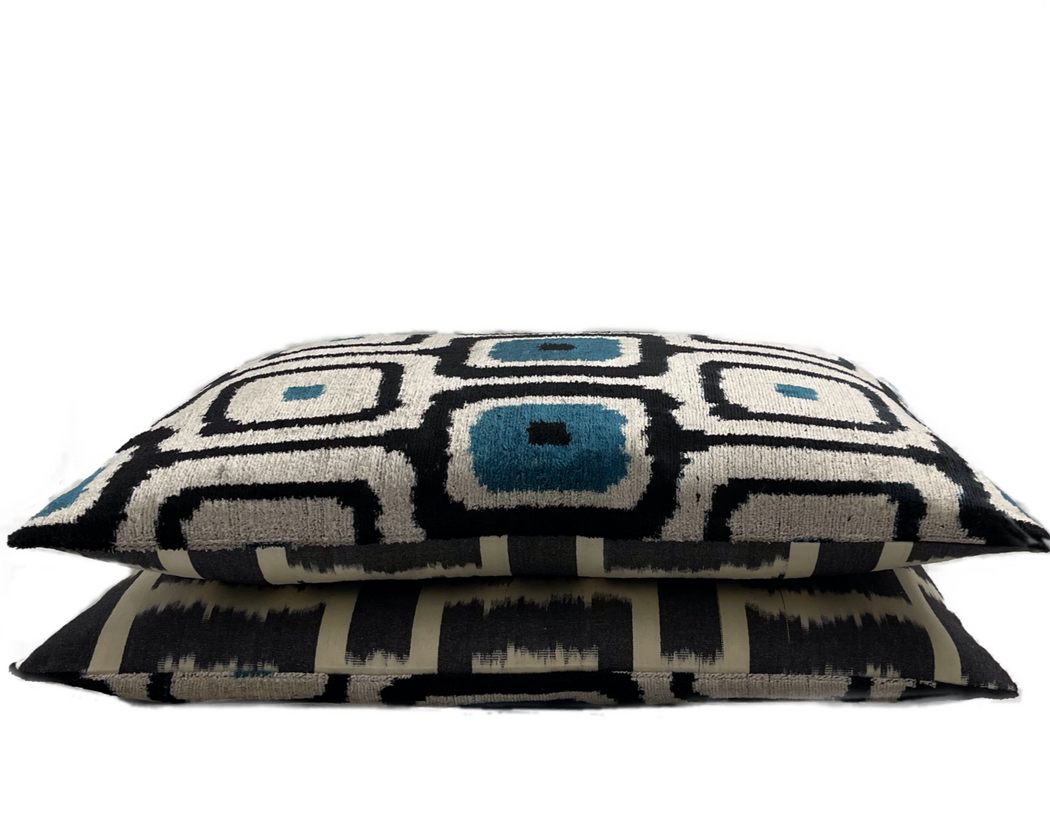 Velvet Ikat double sided cushion cover