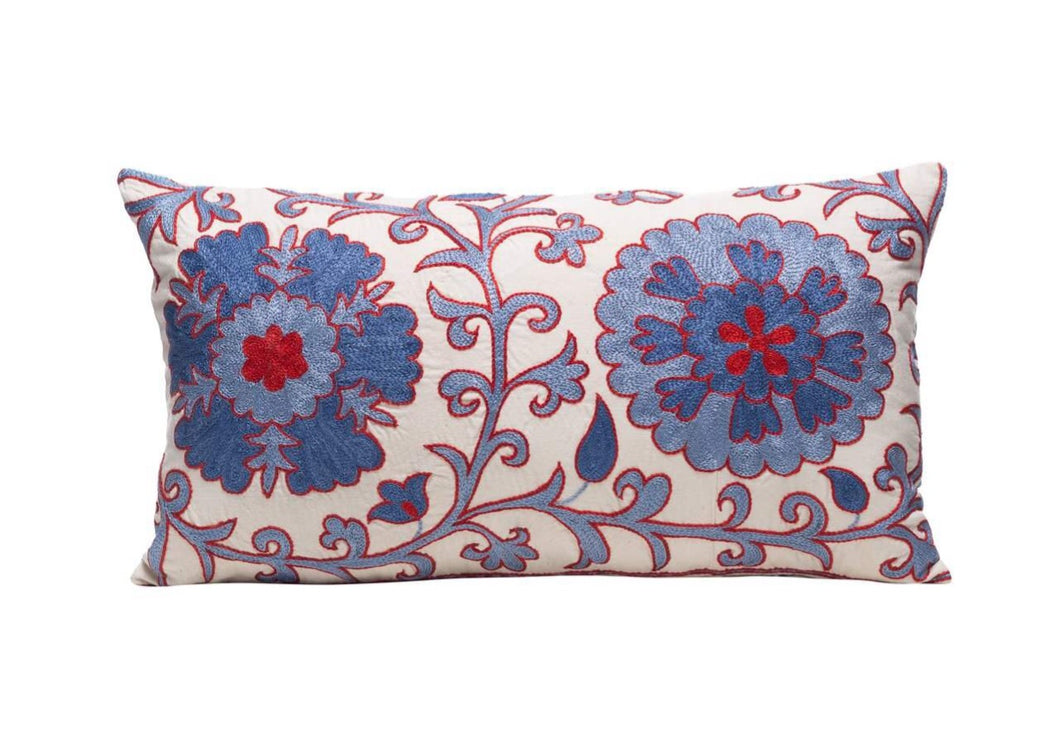 blue suzani cushion