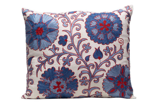 Edelweiss Star Silk Suzani Cushion Double Sided Ikat