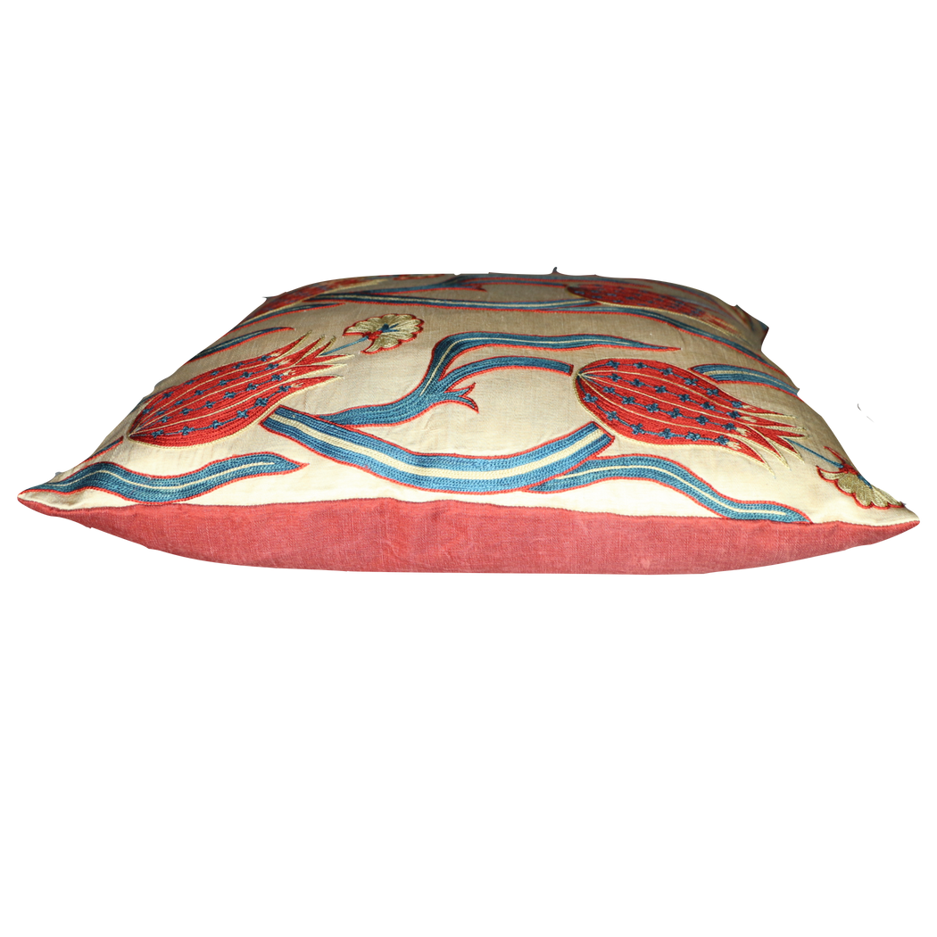 Red Tulip  Design Silk Suzani Cushion - Heritage Geneve