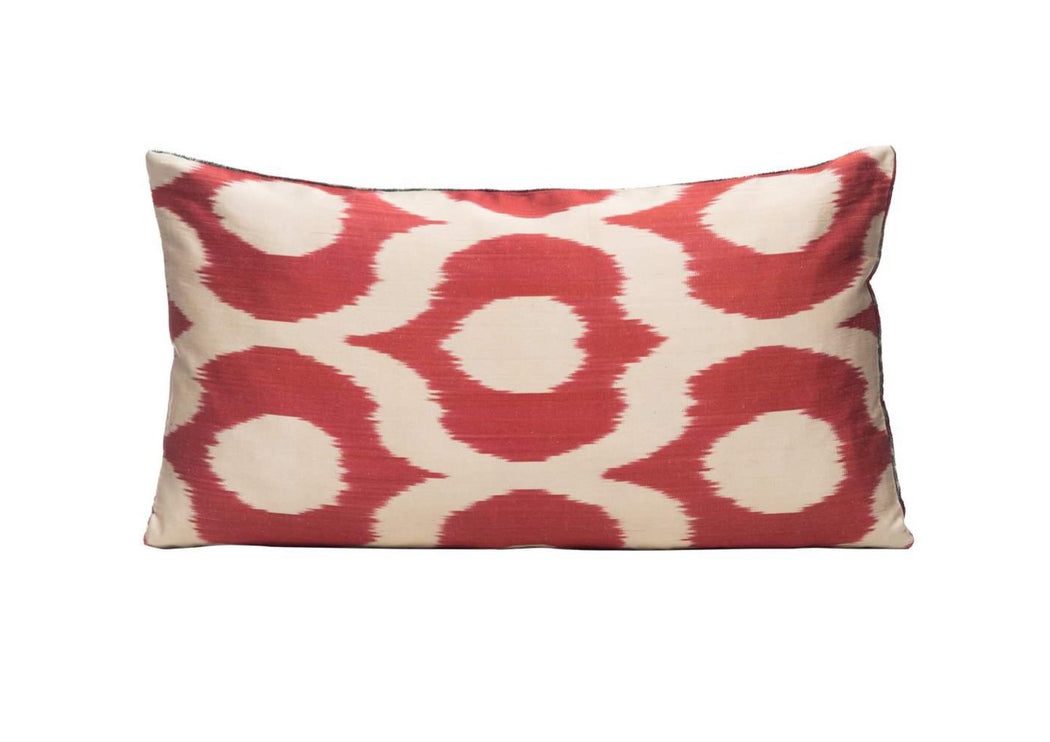 red ikat cushion cover
