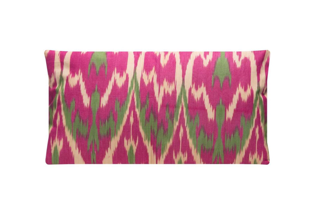 pink green ikat cushion