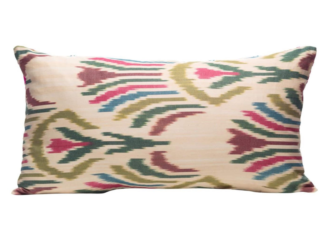 green luxury ikat cushion