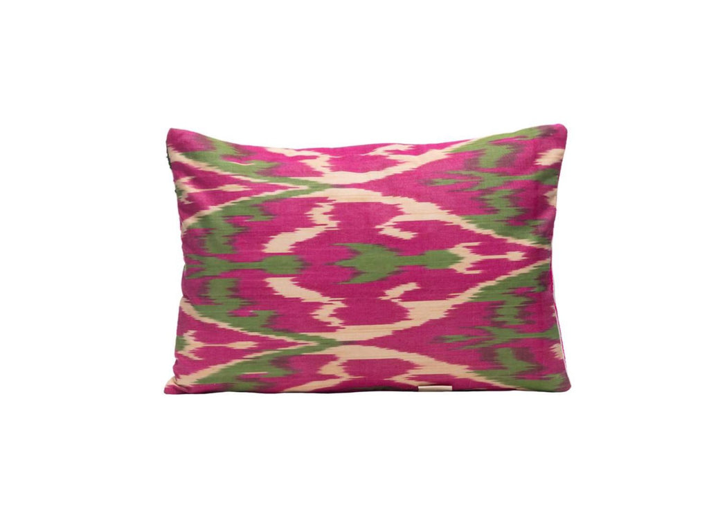 pink and green ikat cushions