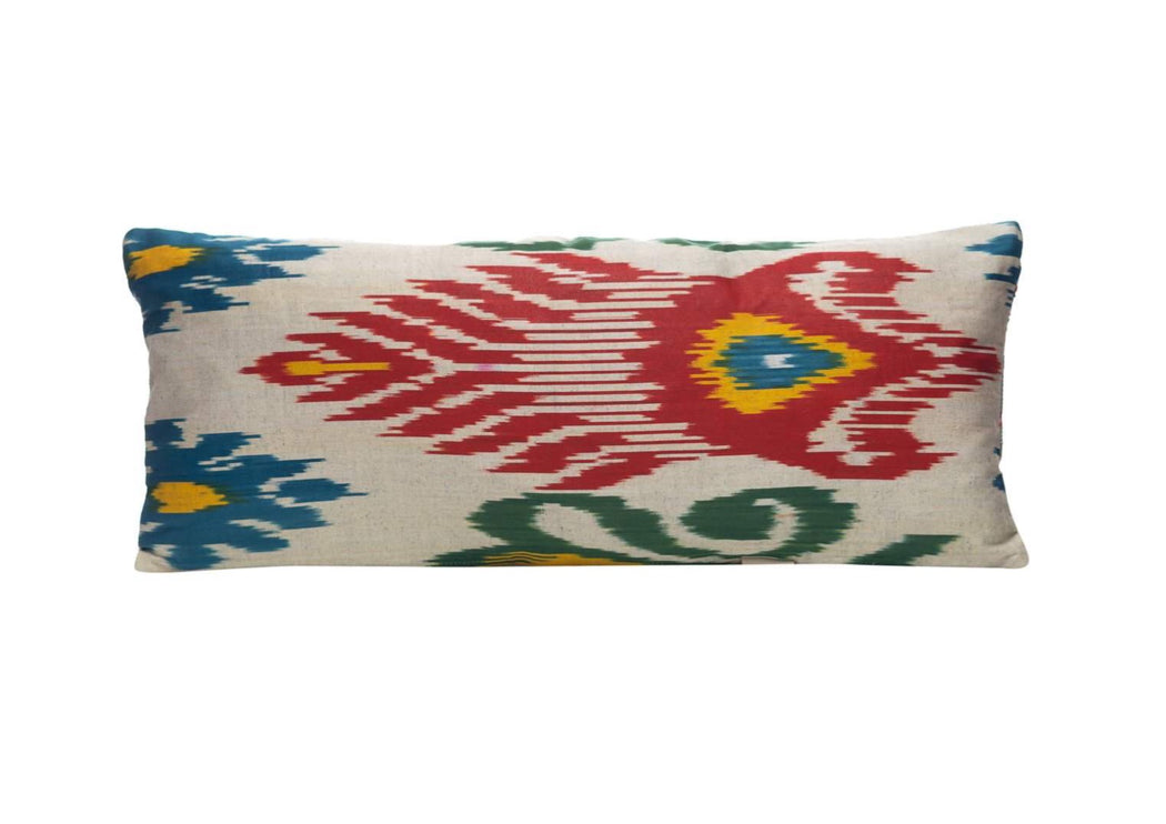 red and green ikat cushion