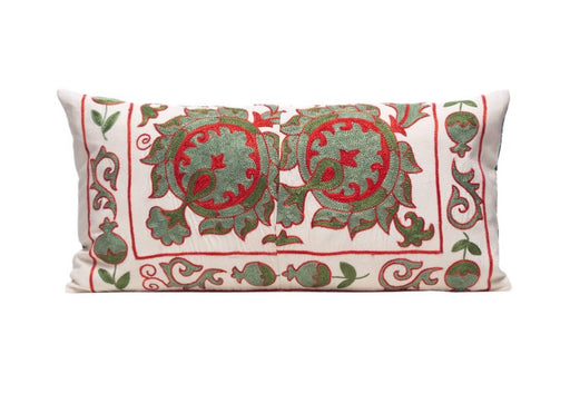 Green Olives Silk Suzani Cushion Double Sided Ikat