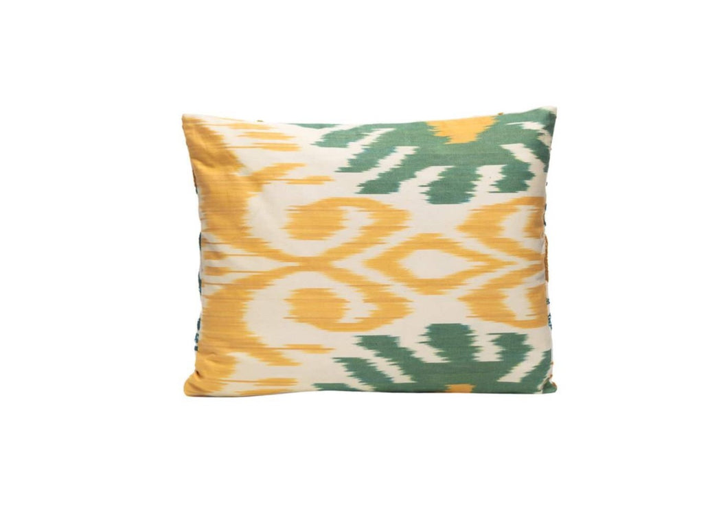 green and yellow cushion
