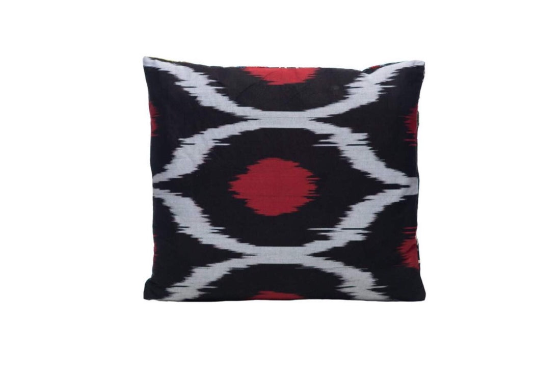 black ikat cushion