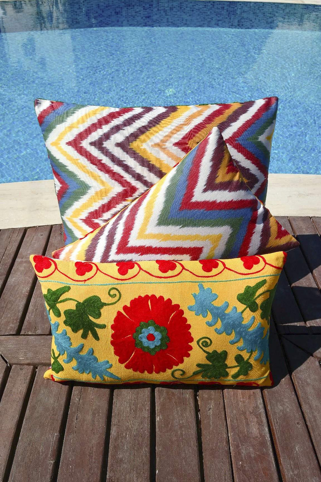 Sunflower Summer Silk Suzani Cushion Double Sided Ikat