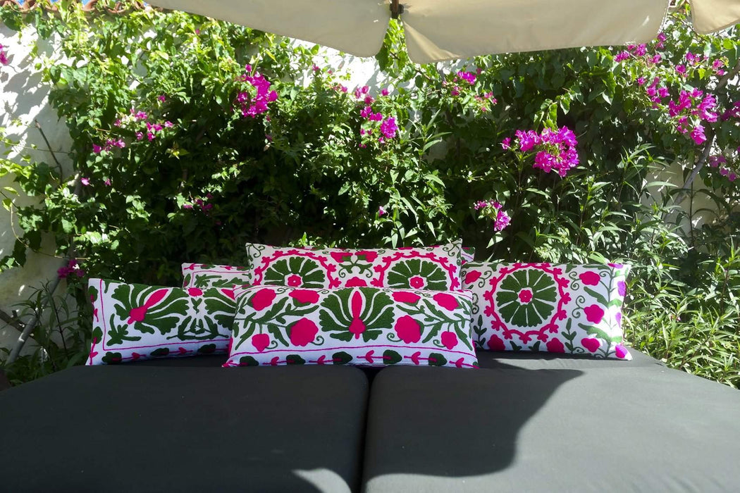 green pink cushion styled