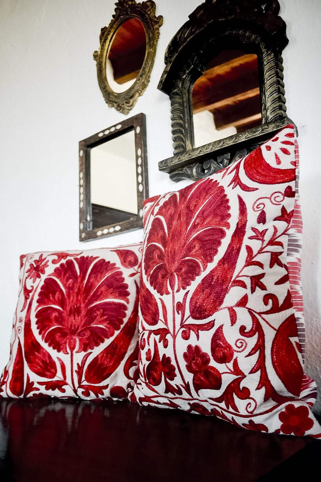 styled red cushions