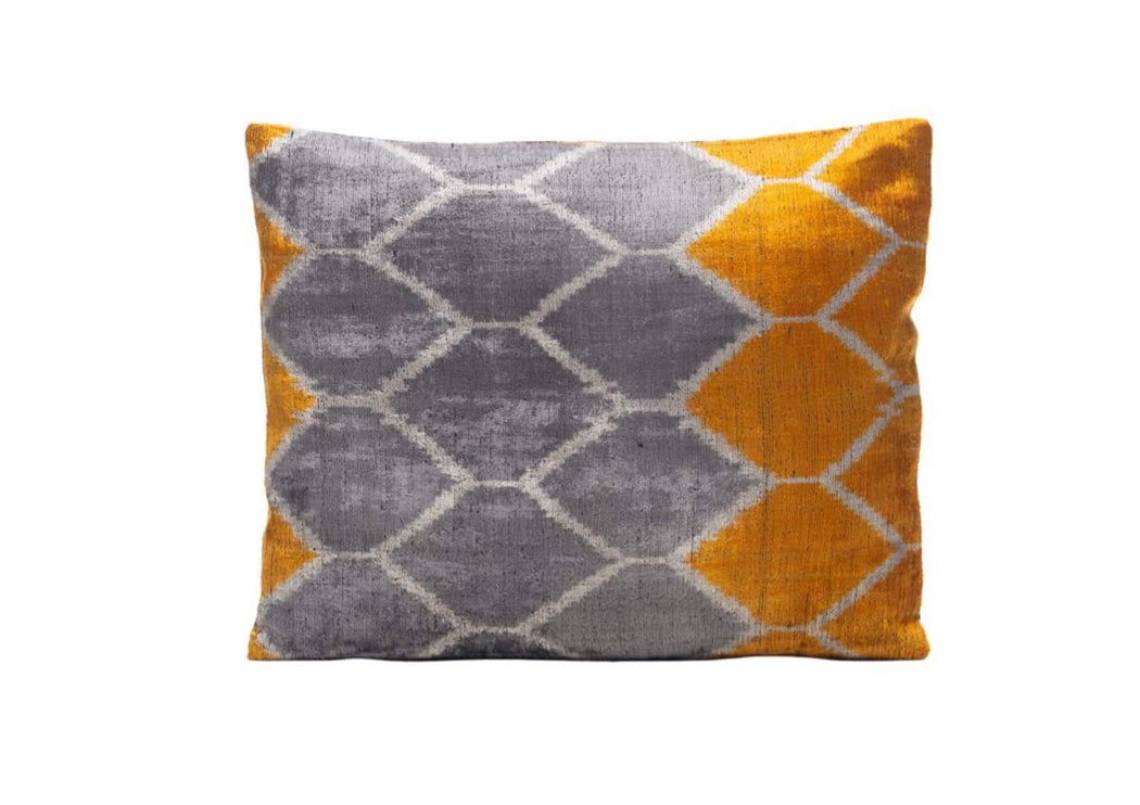 grey yellow velvet cushion