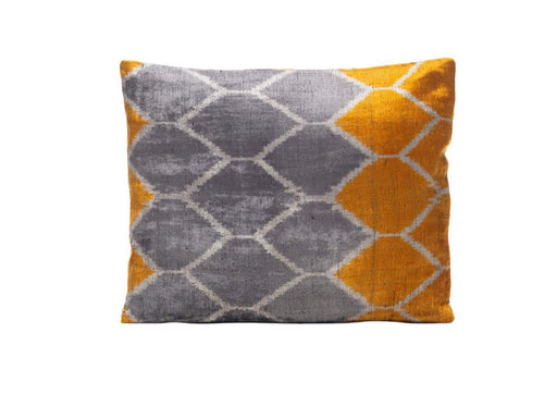 Honeysuckle Flower Velvet Cushion Double Sided Ikat