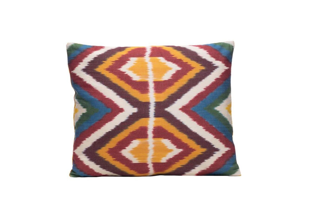 rainbow ikat cushion