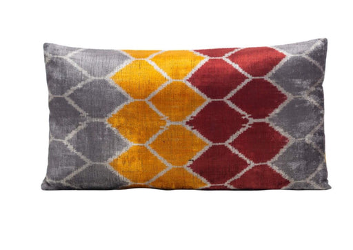 Honeysuckle Fregrance Velvet Cushion Double Sided Ikat