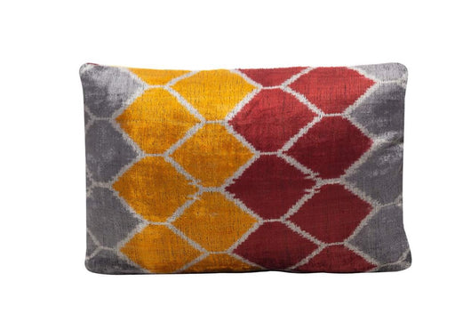 yellow red velvet cushion
