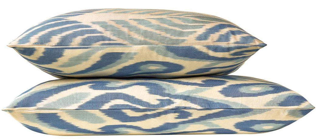 Artemis Jumelle Blue Double Sided Ikat Cushion - Heritage Geneve
