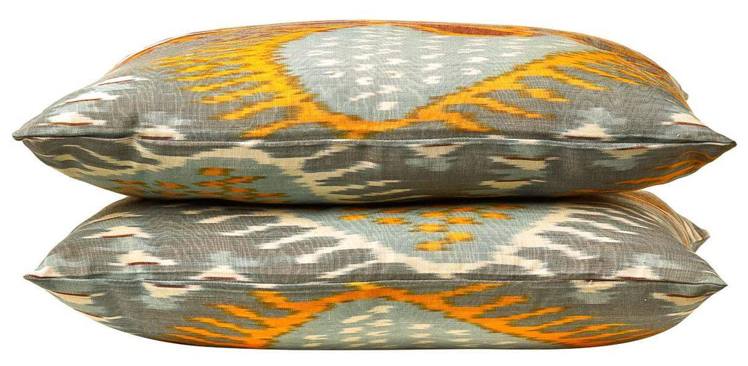Artemis Bird Double Sided Ikat Cushion - Heritage Geneve