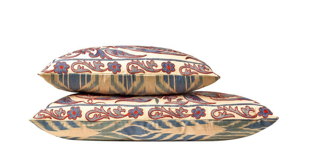 Babylon Cedar Suzani Cushion Double Sided With Ikat Heritage Design - Heritage Geneve
