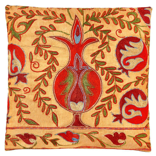 Taj Mahal Silk Suzani Cushion Double Sided With Ikat - Heritage Geneve