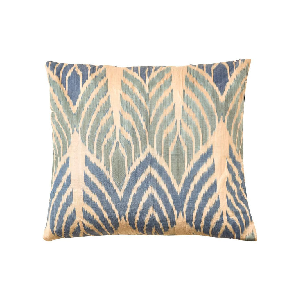 Babylon Myrtle Blue Suzani Cushion Double Sided With Ikat - Heritage Geneve