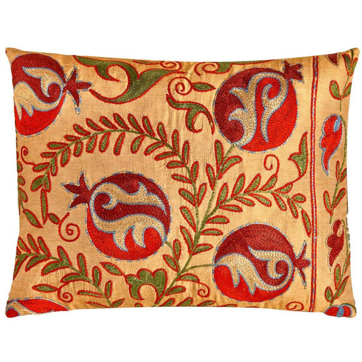 Taj Mahal Punica Suzani Cushion Double Sided With Ikat - Heritage Geneve