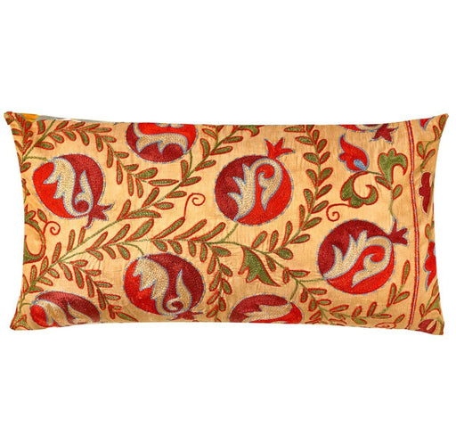Taj Mahal Pomegranate Suzani Cushion Double Sided With Ikat - Heritage Geneve